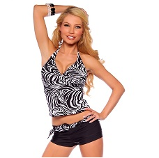 Womens Zebra Print Halter Long Tankini Boyshort Two Piece Swimwear